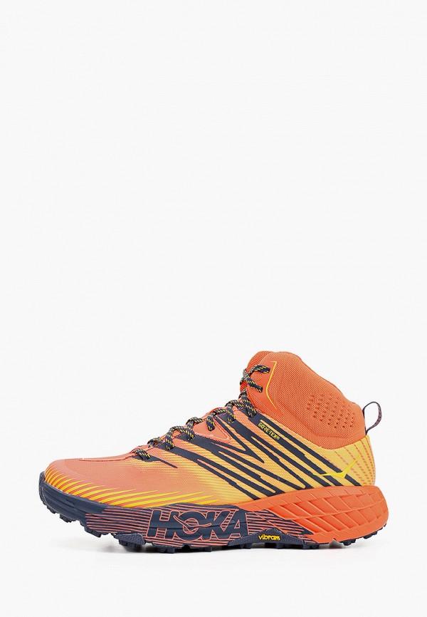 мужские высокие кроссовки hoka one one, оранжевые