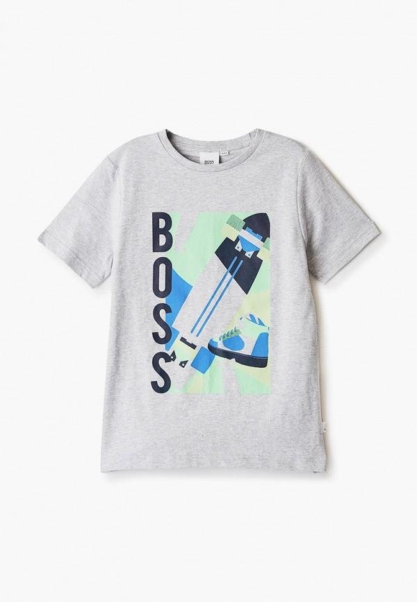 футболка с коротким рукавом boss для мальчика, серая