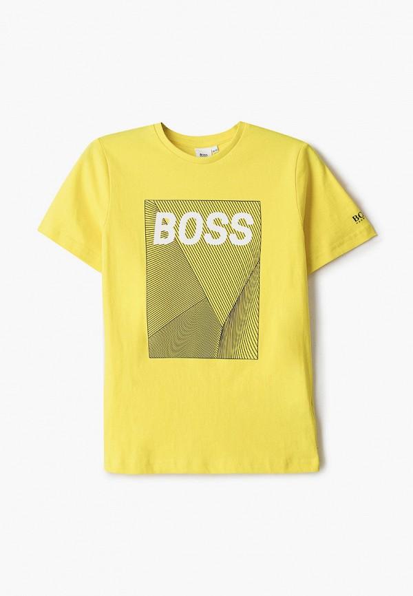 футболка с коротким рукавом boss для мальчика, желтая
