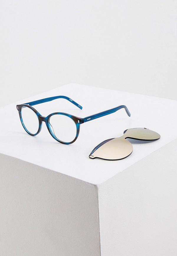 женские круглые солнцезащитные очки hugo, бирюзовые