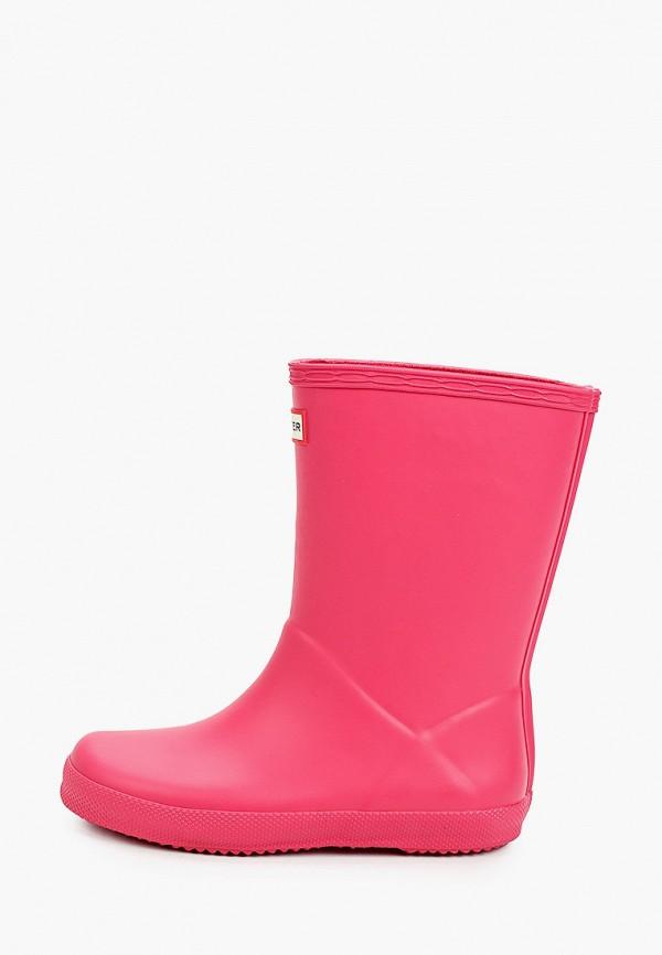 резиновые сапоги hunter для девочки, розовые