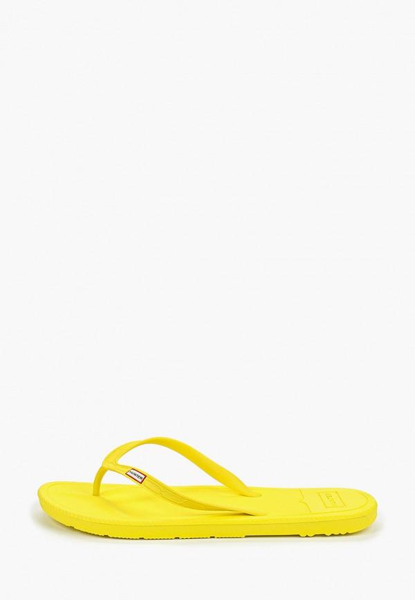 Купить Сланцы Hunter, hu028amfvre5, желтый, Осень-зима 2019/2020
