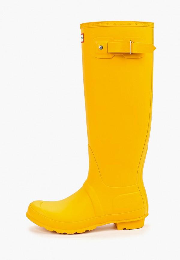 женские резиновые сапоги hunter, желтые