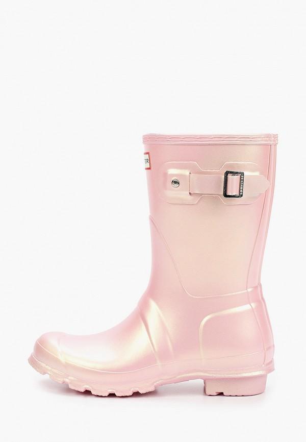 женские резиновые сапоги hunter, розовые