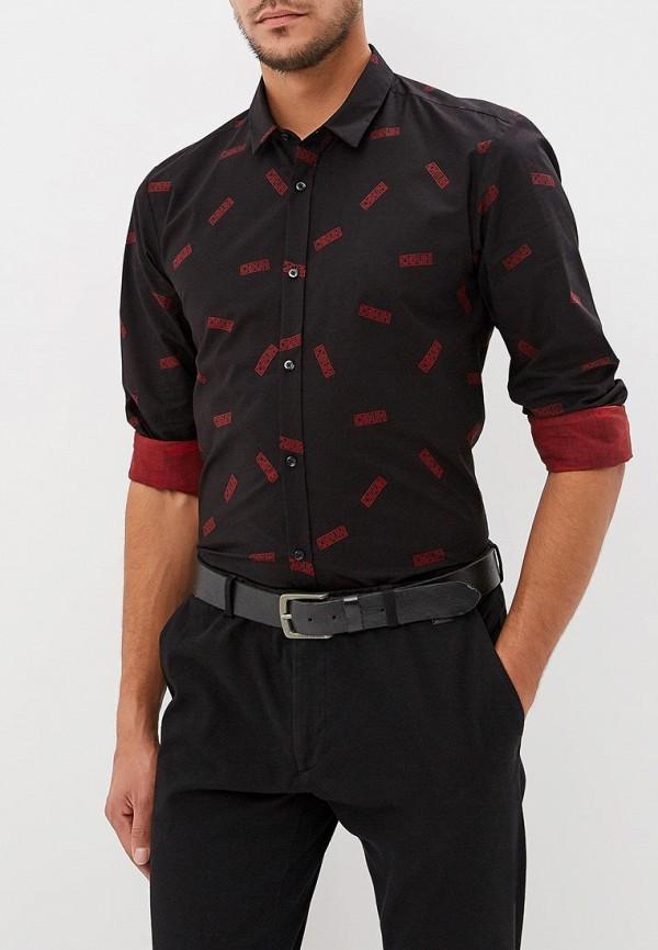 мужская рубашка с длинным рукавом hugo boss, черная