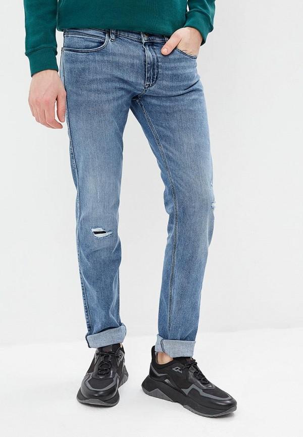 мужские зауженные джинсы hugo boss, голубые
