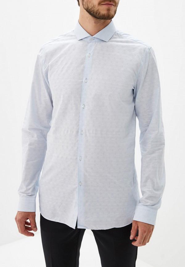 Фото 4 - мужскую рубашку Hugo голубого цвета