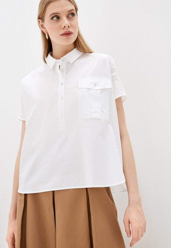 женская рубашка с коротким рукавом iblues, белая