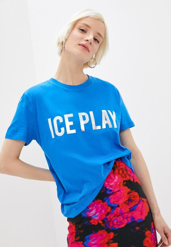 женская футболка ice play, синяя