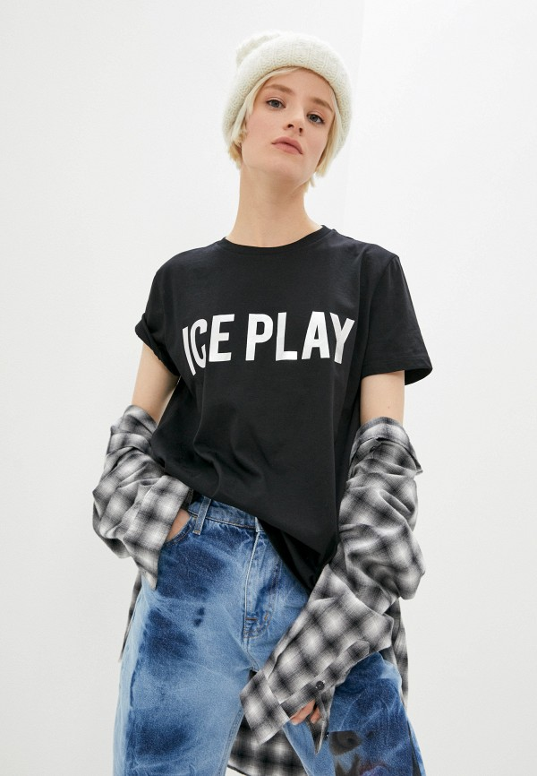 женская футболка ice play, черная