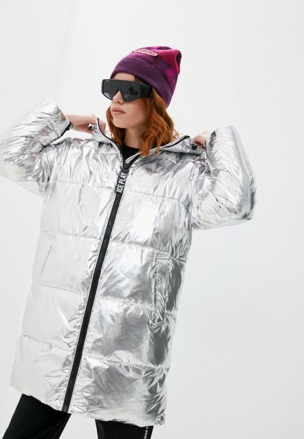 женская куртка ice play, серебряная