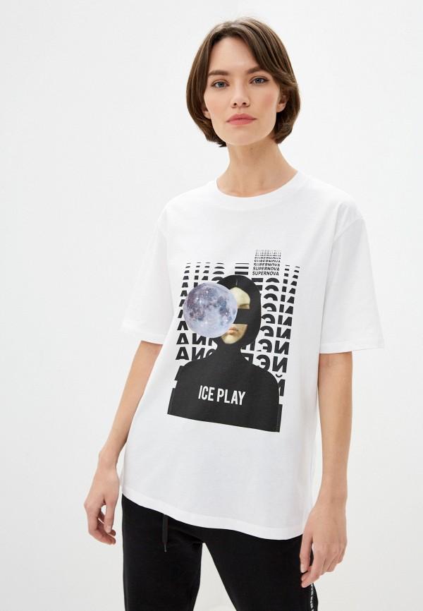 женская футболка ice play, белая