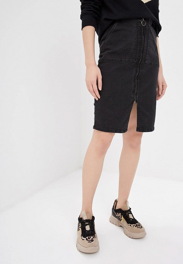 женская джинсовые юбка ichi, черная