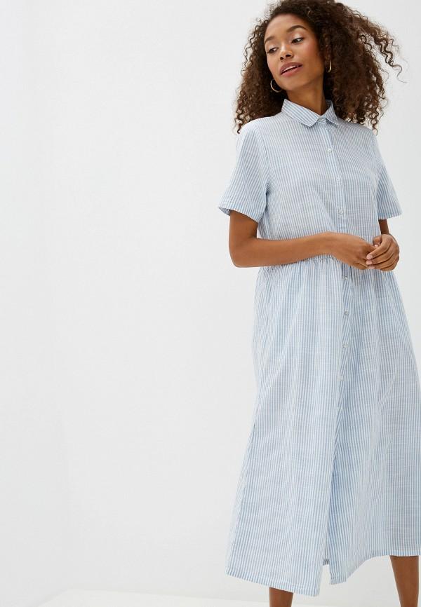 Фото 2 - женское платье Ichi голубого цвета