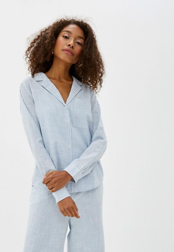 женская рубашка с длинным рукавом ichi, голубая