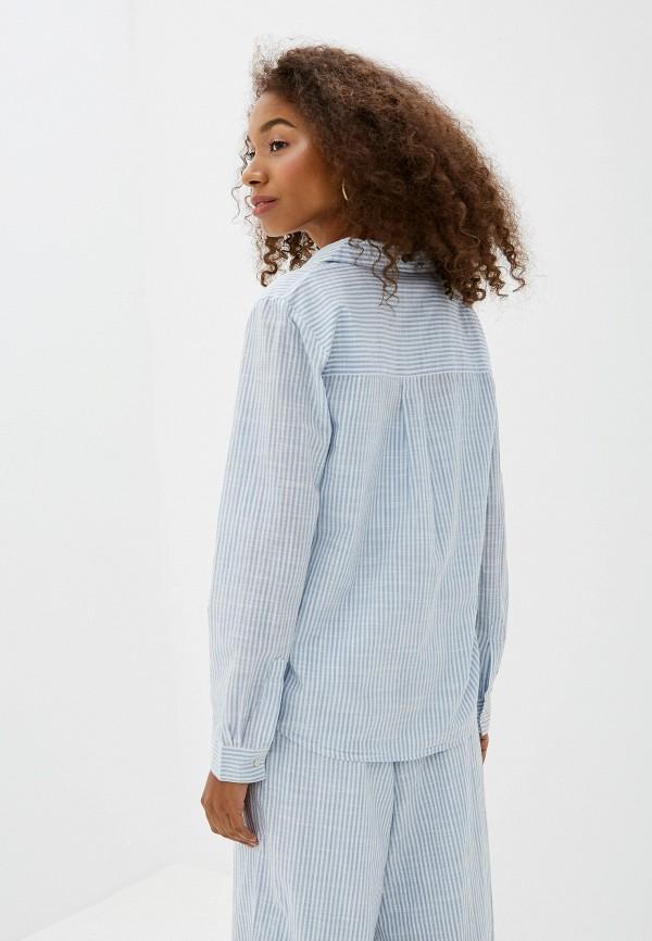 Фото 3 - женскую рубашку Ichi голубого цвета
