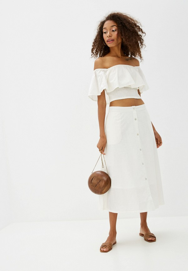 Фото 2 - женскую юбку Ichi белого цвета