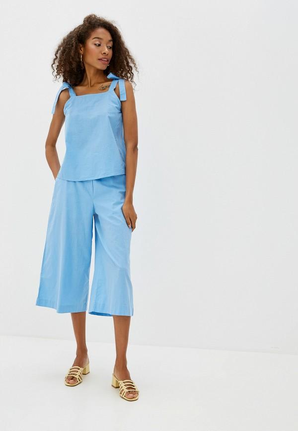 Фото 2 - женские брюки Ichi голубого цвета