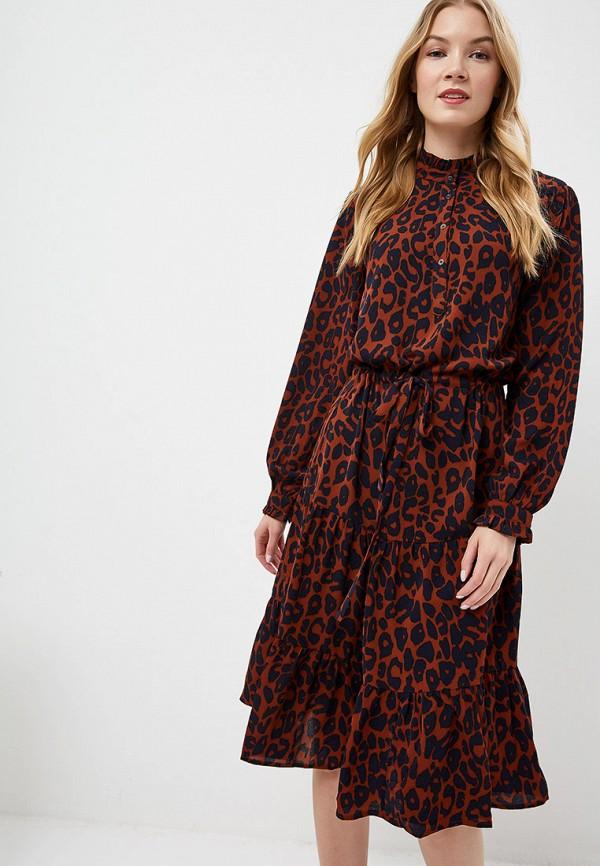 Фото - женское платье Ichi коричневого цвета