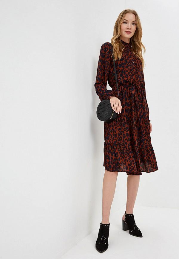 Фото 2 - женское платье Ichi коричневого цвета