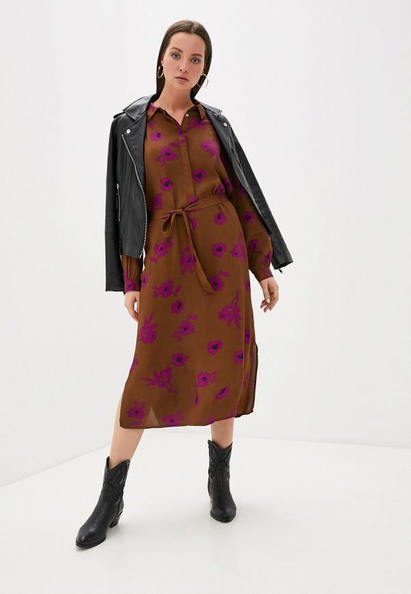 женское повседневные платье ichi, коричневое