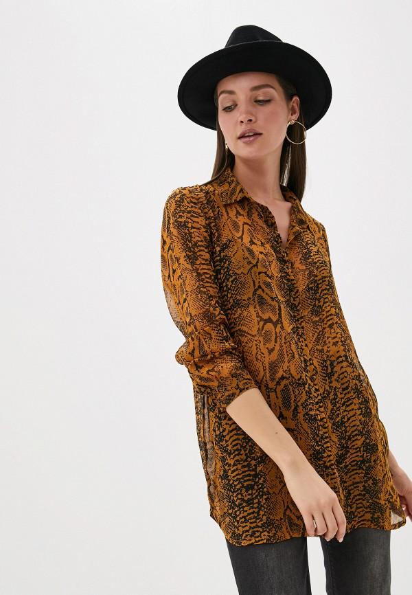 женская блузка ichi, коричневая