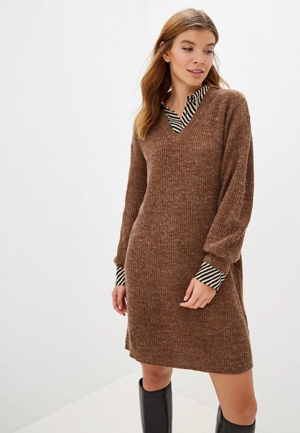 женское платье ichi, коричневое