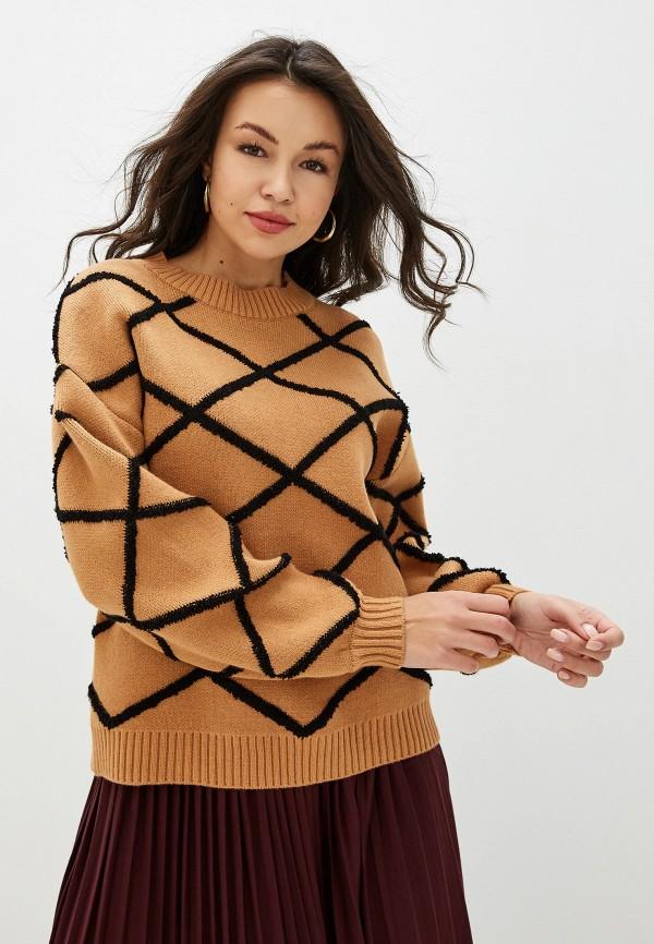 женский джемпер ichi, коричневый