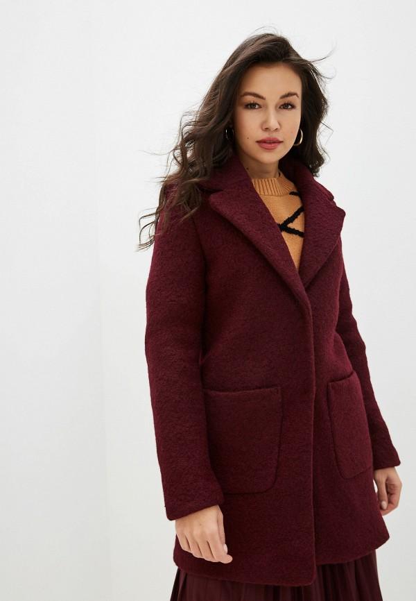 женское пальто ichi, бордовое