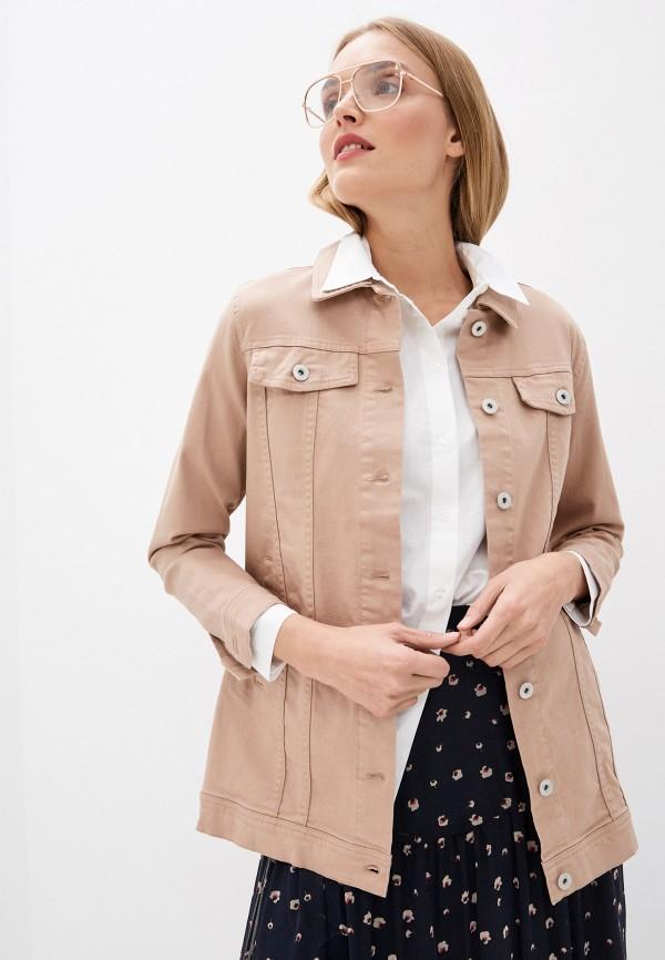 женская джинсовые куртка ichi, бежевая