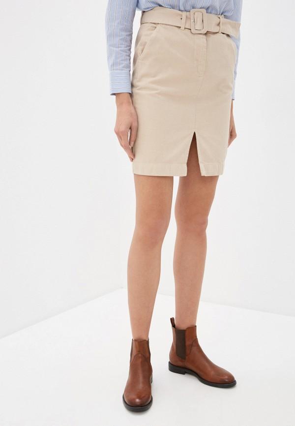 женская джинсовые юбка ichi, бежевая