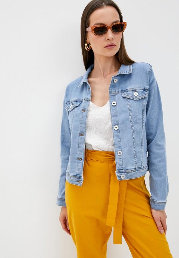 женская джинсовые куртка ichi, голубая
