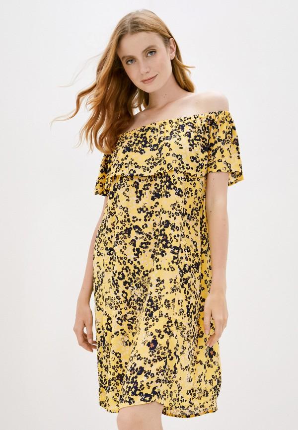 женское платье ichi, желтое