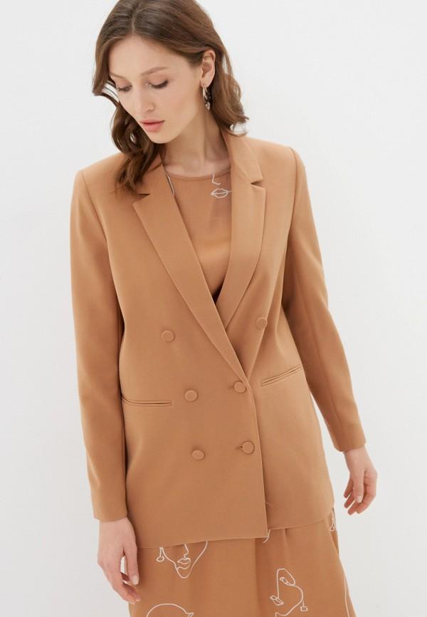 женский пиджак ichi, коричневый