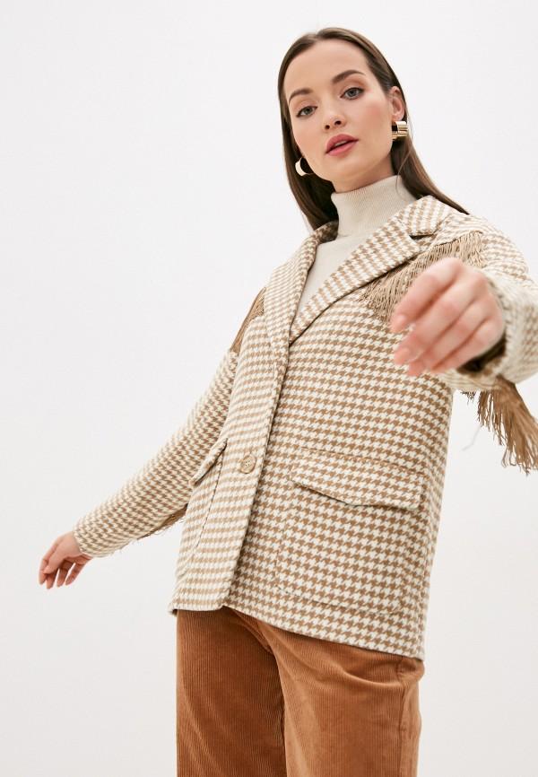 женское пальто ichi, бежевое