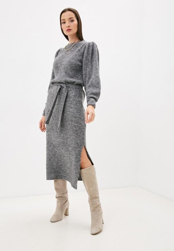 женское платье ichi, серое