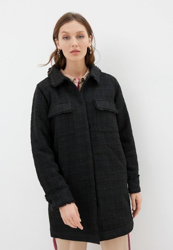 женское пальто ichi, черное