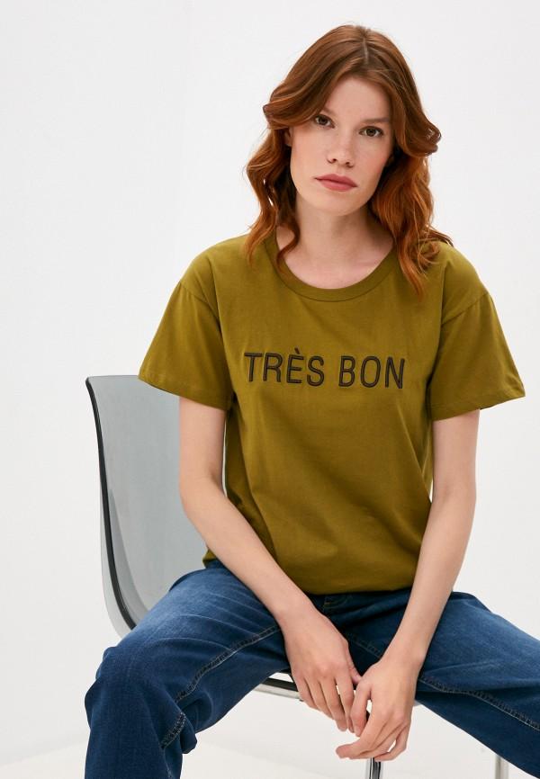 женская футболка ichi, хаки