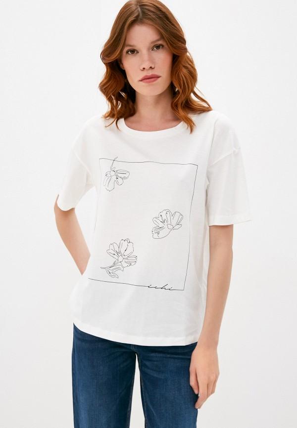 женская футболка ichi, белая