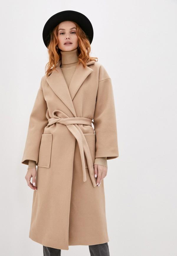 женское пальто ichi, коричневое