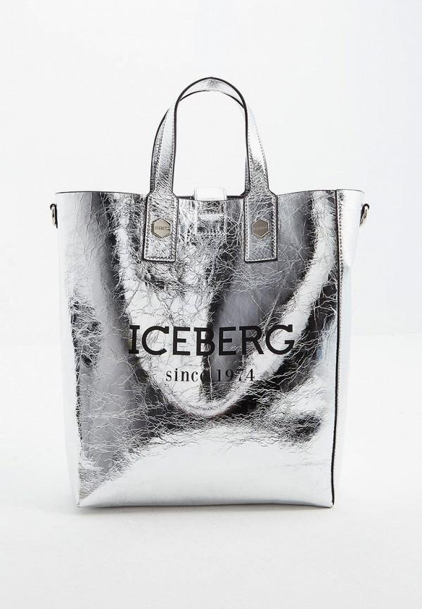 женская сумка iceberg, серебряная