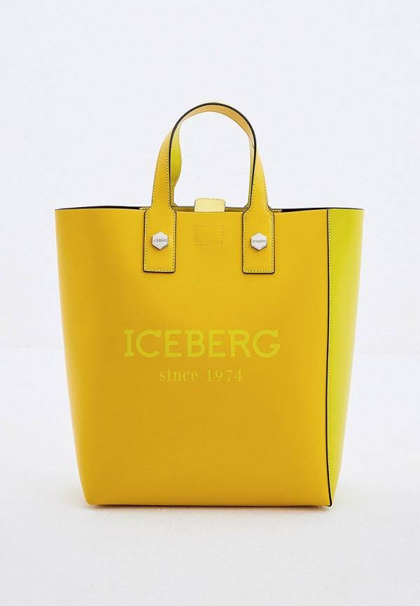 женская сумка с ручками iceberg, желтая