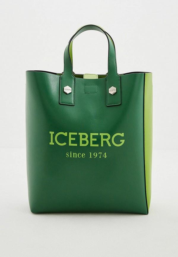 женская сумка с ручками iceberg, зеленая