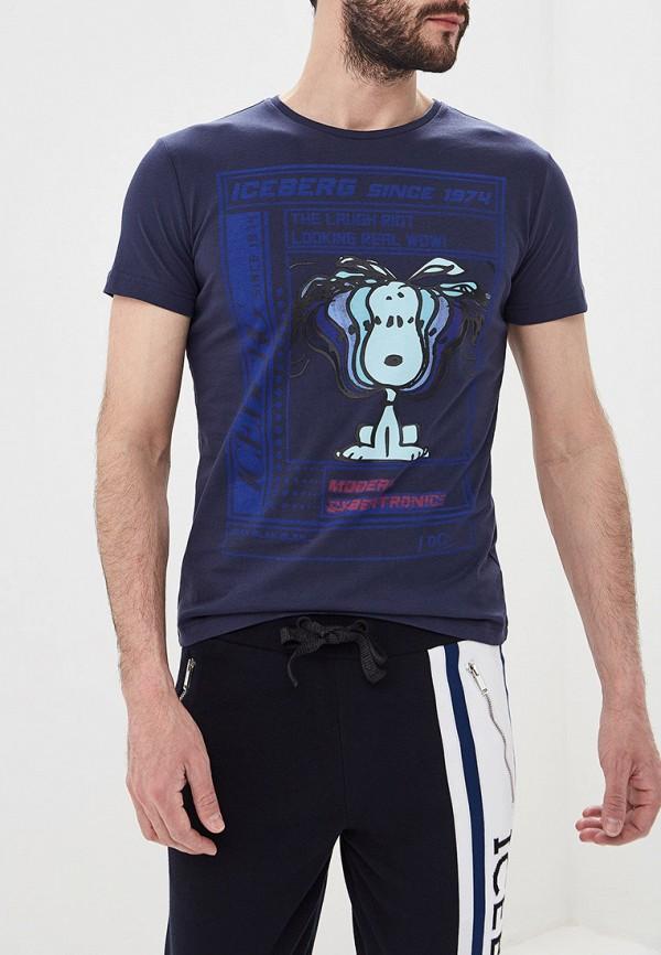 мужская футболка iceberg, синяя