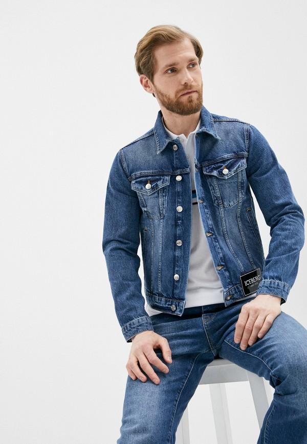 мужская джинсовые куртка iceberg, синяя
