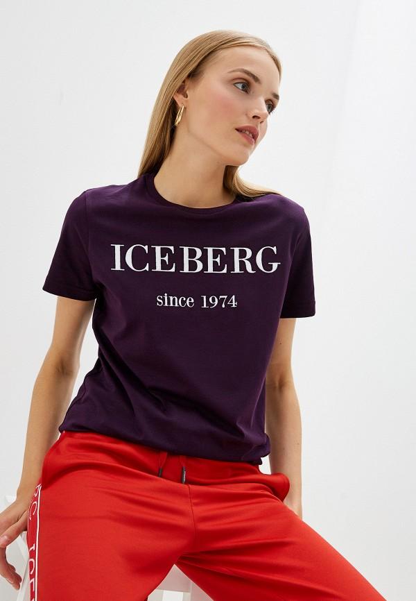 женская футболка iceberg, фиолетовая