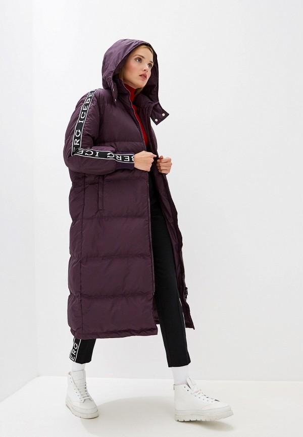 женский пуховик iceberg, фиолетовый