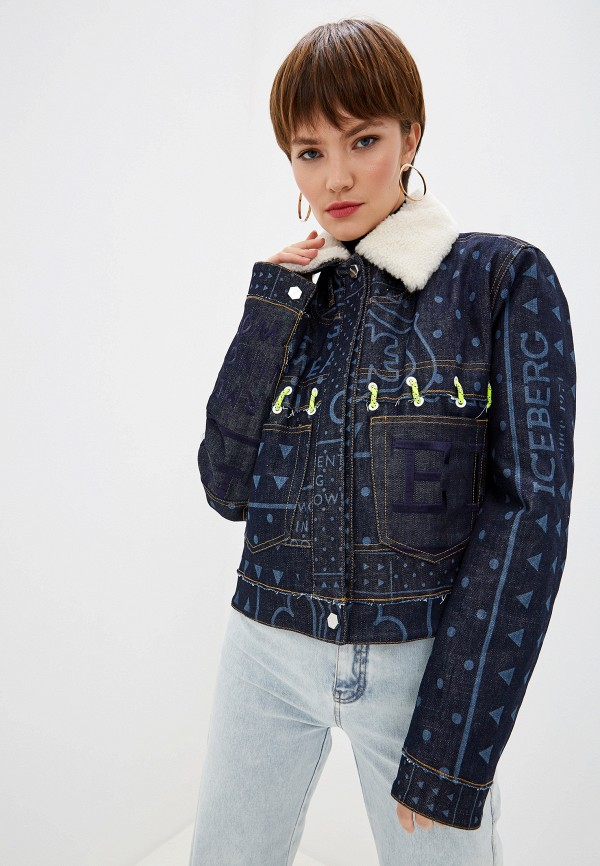 женская джинсовые куртка iceberg, синяя