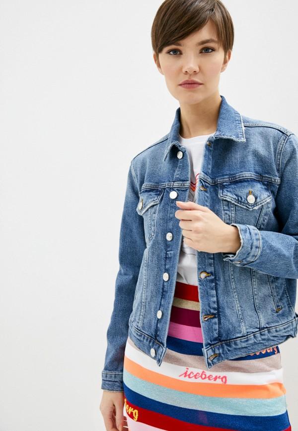 женская джинсовые куртка iceberg, голубая