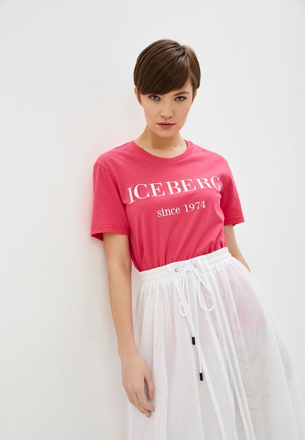 женская футболка iceberg, розовая